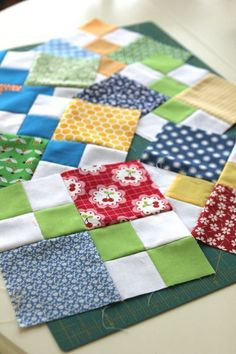 Sewing Quilts quilt idea - double four patch Quilting Tutorials, Quilting For Beginners, Quilting Projects, Quilting Designs, Quilt Design, Quilting Ideas, Scrappy Quilts, Easy Quilts, Mini Quilts