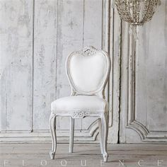 Vintage Side Chair: 1940 Darling Louis XV Style Vintage Single Side Chair in white washed finish with cool undertones and gilt highlights. Featuring delicate floral carvings, upholstered in white duct canvas fabric. French Country Furniture, Farmhouse Furniture, French Country Decorating, Swedish Style, French Country Style, Side Chairs, Dining Chairs, Dining Room, Kitchen Arrangement