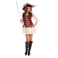Adult Treasure With Hat Costume One beautiful, sexy pirate! Treasure includes tank top mini dress with attached petticoat, lace sleeves and velvet hat. Sword and boots sold separately. Funny Costumes, Sexy Halloween Costumes, Adult Costumes, Costumes For Women, Pirate Costumes, Halloween Parties, Adult Halloween, Halloween Ideas, Halloween Decorations