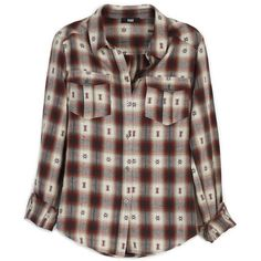 PAIGE Mya Shirt - Dusty Brown / Scarlet Jacquard Plaid ($189) ❤ liked on Polyvore featuring tops, button downs, plaid button-down shirts, brown tops, plaid shirts, pleated top and button-down shirt