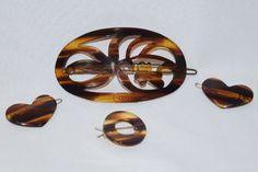 Vintage Lucite Faux Tortoise Shell Hair Clasp Beret Set Of Four (4)   eBay
