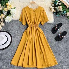 V Neck Ladies Slim Button Midi Long Dress – GoFashionova Modest Dresses, Trendy Dresses, Simple Dresses, Casual Dresses, Frock Fashion, Kpop Fashion Outfits, Fashion Dresses, Long Midi Dress, Pretty Outfits