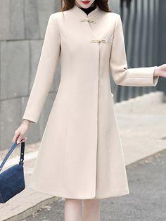 Korean Fashion Dress, Fashion Dresses, Fashion Clothes, Look Fashion, Womens Fashion, Fashion Coat, Coat Dress, Stylish Dresses, Ideias Fashion