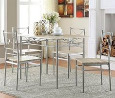 Merveilleux Amazon.com   Harperu0026Bright Designs 5 Pcs Wood And Metal Dining Set Table  And 4 Chairs Home Kitchen Modern Furniture (Oak)   Table U0026 Chair Sets | Mi  Casa ...