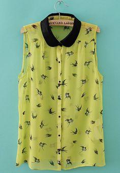 Yellow Sleevelss Contrast Collar Swallow Print Blouse - Sheinside.com