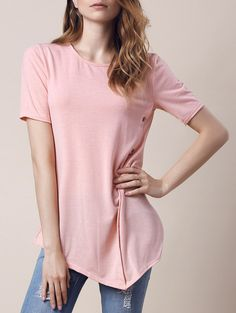 Trendy round collar short sleeve button design asymmetrical women s t