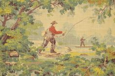 Covington Avondale is a masculine fishing and hunting scene with trees, streams and hunting dogs. Covington Fabric, Barrel Chair, Hunting Dogs, Crate And Barrel, Linen Fabric, Fabric Patterns, Fly Fishing, Fabrics, Scene