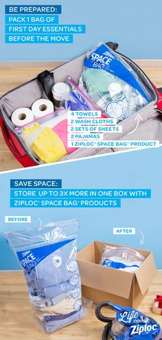 Use these tips to hack moving day and help make it easy and stress-free. Pack a suitcase with first-day essentials like towels, soap, sheets, garbage bags, clothes, and toilet paper. This will help you setup your new home with the basics and keep you organized while you unpack everything else. Fit more in each box by storing any off-season or bulky items in Ziploc® Space Bag® products.