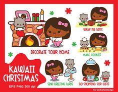 Kawaii Christmas clip art fireplace clipart kawaii girl clip