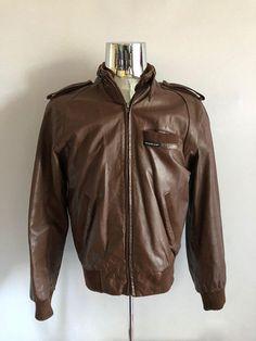Vintage Men's 80's Members Only, Leather, Jacket, Brown, Zip Up (M)