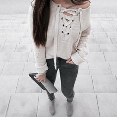 Lace Up Plunging Neck Jumper,zaful,model,shop,NeckLongSleeves,CasualWomen,outfits,ootd,shopping,fashion,style