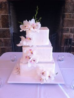 Floating Orchids Wedding Cake