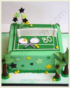 Celebration Cakes this Week 60th Birthday Cake For Men, Golf Birthday Cakes, 80th Birthday, Birthday Ideas, Tennis Cake, Tennis Party, Flower Cake Decorations, Sports Themed Cakes, Thomas Cakes