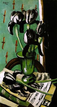 "max beckman, black irises, 1928      ""Each shade of a flower, a face, a tree, a fruit, a sea, a mountain, is noted eagerly by the intensity of the senses, to which is added, in a way of which I am not conscious, the strength or weakness of my soul.""  —Max Beckmann  Painting: Max Beckman, Black Irises, 1928."