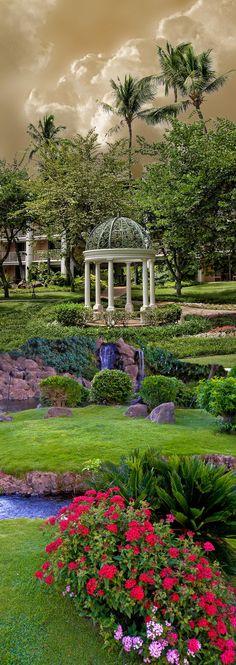 Beautiful garden and gazebo at the Grand Wailea Hotel in Maui, Hawaii • photo: Peter Holme iii on 500px