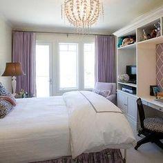 Tish Key Interior Design - girl's rooms - purple curtains, purple drapes, girls room, girls bedroom, girls desk, purple bed skirt, damask pillows, black and white damask pillows, girls desk, purple bulletin board, purple pin board,