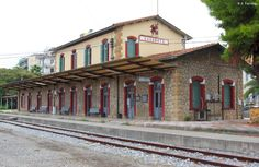 Railway station of Kalamata Messinia Peloponnese Old Greek, Old Trains, Going Away, Greece Travel, Pergola, To Go, Outdoor Structures, Country, Train Stations