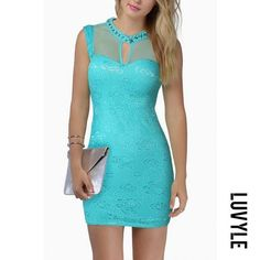 #AdoreWe #Luvyle Luvyle Crew Neck Cutout Plain Fitted Bodycon Dress - AdoreWe.com