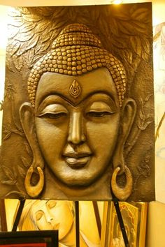 """""""If there is no struggle, there is no progress. Budha Painting, Tanjore Painting, Mural Painting, Ceramic Painting, Paintings, Clay Wall Art, Mural Wall Art, Clay Art, Aluminum Foil Art"""