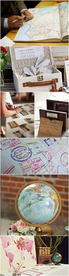 Si estáis pensando en una boda con los viajes por temas, hay varias formas de darle un toque original al libro de firmas. Por qué no tenemos porque limitarnos al típico libro de con dedicatorias. Aquí os dejo algunas ideas.