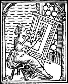 Marking designs on difficult fabrics - I always like  historic images of people doing and prepairing crafts