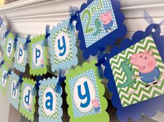 George Pig and Dinosaur/ Peppa Pig Inspired Happy Birthday Banner - Lime Green Chevron, Baby Blue Polka Dots & Royal Blue Accents - Party Packs Available