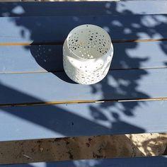 lantern on blue garden table