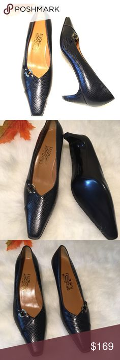 """Salvatore Ferragamo Black Leather Minuetto Heels Featured item~ Salvatore Ferragamo Black Leather snake skin like texture Minuetto Pump Shoe   Condition: In new condition Material: Leather Color: Black Size: 9 Made in Italy  Heel Measurements- 2 1/4""""   Feel free to ask any questions about the item. Thank you for looking! Salvatore Ferragamo Shoes Heels"""