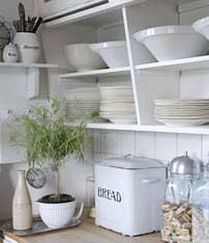 love these open shelves - reminds me of my great aunt's country kitchen