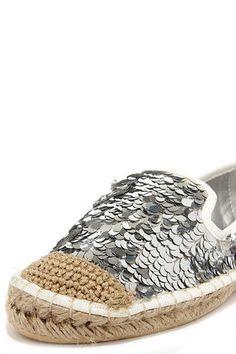 Cute Silver Flats - Sequin Flats - Espadrille Flats - $42.00