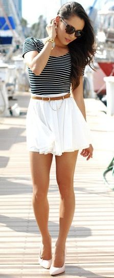 fitted striped tee with belted white skirt and nude heels