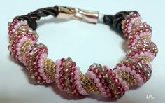 BEADS and GEMS by LPL - Bracelet -Cellini Spiral Bangle - 11/0 , 9/0 , 8/0 seed beads - pink and gold colours.
