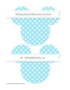 Pastel Aqua Blue Dotted Pattern  Large Mickey Mouse Silhouette Cut Outs
