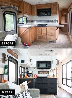 Are you thinking about updating the kitchen in your RV or camper? Come see how we made a huge impact in our motorhome with our rustic modern RV kitchen renovation! MountainModernLife.com via @MtnModernLife