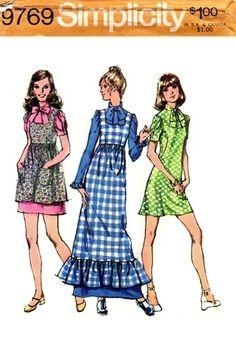 Simplicity 9769 Endearing Dress & Pinafore 1971
