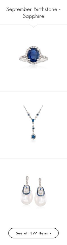"""""""September Birthstone - Sapphire"""" by rosssimons ❤ liked on Polyvore featuring jewelry, rings, white gold sapphire ring, oval ring, ross simons rings, white gold diamond jewelry, star sapphire jewelry, necklaces, white gold and gold cable chain necklace"""