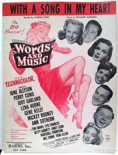 "Judy Garland ""Words and Music"" 1948 Movie Sheet Music Lena Horne Gene Kelly"