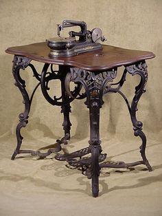 Antique fancy leg cast iron flat belt 1860's Florence Treadle Sewing Machine USA