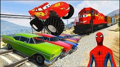 Monster Trucks Disney Cars w/ Pink Spiderman for kids, Lightning McQueen & Tow Mater Monster Trucks - YouTube