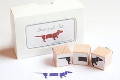 "Rubber Stamps ""Sausage Dog"" (Set of 3). €10,00, via Etsy.  Yes! These are so cute!"