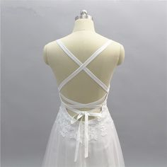 Elegant Backless A Line Lace Tulle Beach Wedding Dress - Uniqistic.com