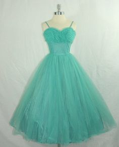 tons of turquoise tulle…  vintage 1950s prom dress