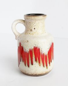 Red Flame Stitch Fat Lava German Handled Pottery by TheBlueRam.