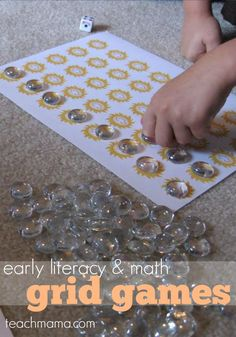 Early literacy and math grid games are perfect learning tools for kids! They learn in a hands-on way that makes learning math and reading fun! #gridgames #learning #teachingkids #funlearning #math #literacy