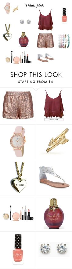 """""""Think pink"""" by hanwilloughby ❤ liked on Polyvore featuring Jaded, Kate Spade, Bling Jewelry, Lazy Oaf and Wet Seal"""