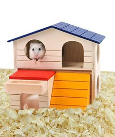 loveone Hamsters Hideout Home Gerbils House Deluxe Wooden Hut Play Chews Toys for Small Animal/Guinea Pigs/Squirrels/Hedgehogs