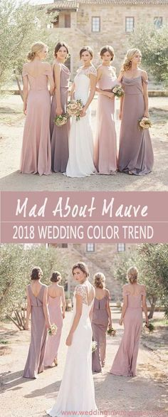 2018 stylish & prettiest wedding color trend : shade of mauve - wedding invites paper mauve wedding gowns/ rustic wedding bridesmaid dresses/ shade of Purple Wedding Gown, Rustic Wedding Gowns, Fall Wedding Colors, Dress Wedding, Purple Gowns, Spring Wedding, Dusty Purple Dress, Modest Wedding, Wedding Vows