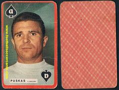 1960 Puskas on a redemption card issued by Mirror Sprint, styled like a playing card, Real Madrid Soccer Cards, Football Cards, Baseball Cards, World Football, Football Soccer, Top Soccer, Rarity, Soccer Players, Real Madrid