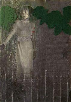 'works on paper #9' (2009) by Dutch artist Hinke Schreuders (b.1969). yarn and ink on paper on canvas. via the artist's site sudsandsoda