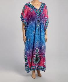 Look what I found on #zulily! Blue & Fuchsia Abstract Caftan - Plus by  #zulilyfinds